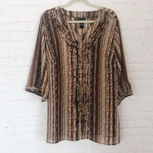[Maggie Barnes] animal print beaded blouse 0X